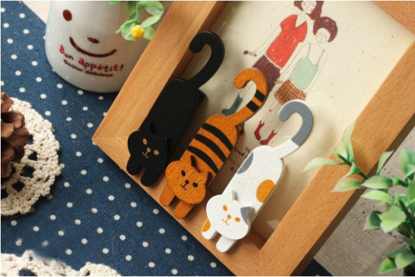 Stationery 15 pcs/ 1lot Mini Natural Painted oh my cat Wood Clip Set / Cute Wooden Paper Clips / Small Craft Photo Pegs H1494