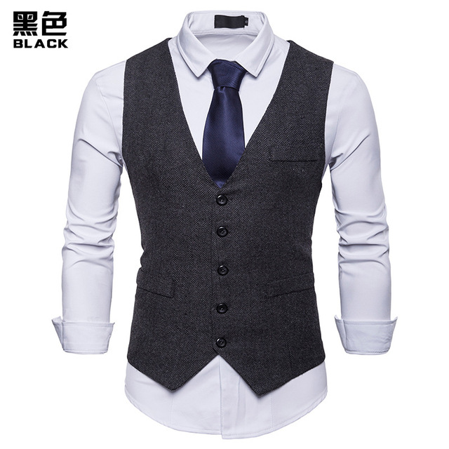 Fashion Suit Vest Men Formal Dress Vest Colete Masculino Herringbone Gilet Fitness Sleeveless Jacket Wedding Waistcoat Men XXL 1