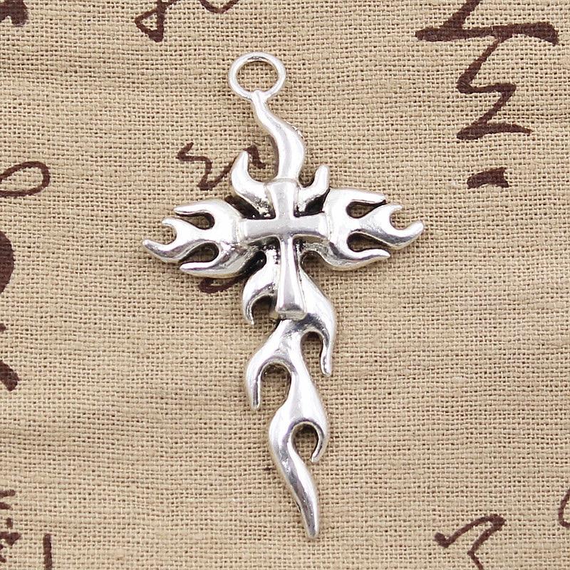 4pcs Charms Cross Flames Fire 64x36mm Antique Tibetan Pendant Findings Accessories DIY Vintage Choker Handmade Jewelry