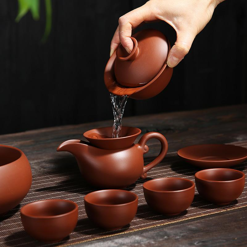 Handmade Purple Clay Kung Fu Tea Set Teapot Drinkware Tea Pot Cup Set Zisha Ceramic Chinese Gaiwan Teaset Kettle Teaware Sets