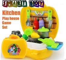26pcs Kitchen tool chest Toys Classic Pretend Play Kitchen Tableware & fruit vegtable Learning Education Adorable Gift for Kids