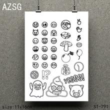 AZSG Funny emoji Silicone Clear Stamps/Seals For Scrapbooking DIY Clip Art / Album Decoration  Stamps Crafts