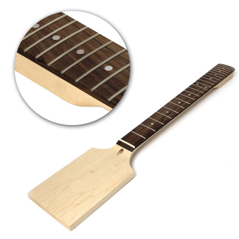 Electric Guitar 22 Fret Neck Paddle Head Maple Wood Bolt Unfinished new 1pcs electric guitar neck maple wood fretboard paddle 22 fret 25 5 bolt on