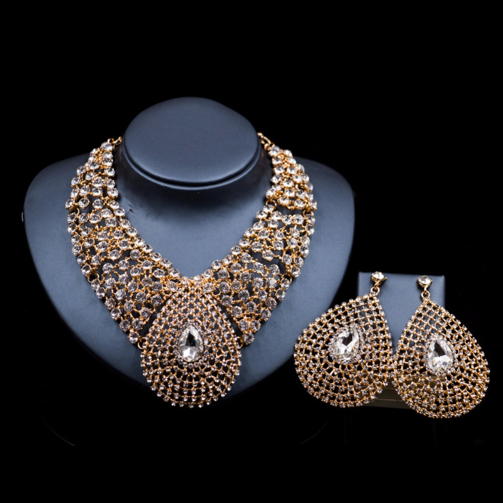 Indian Bridal Jewelry Sets Wedding Crystal Water Drop Rhinestone Necklace and Earrings Set for Women 2018 Trendy Jewelry Sets a suit of vintage rhinestone artificial crystal necklace ring and earrings for women