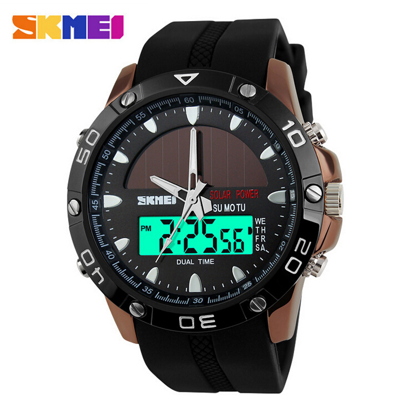 Watches Men Waterproof Solar Power Sports Casual Watch Man Men's Wristwatches 2 Time Zone Digital Quartz LED Clock Men men s waterproof sports watch multifunctional watch w dual time zone led