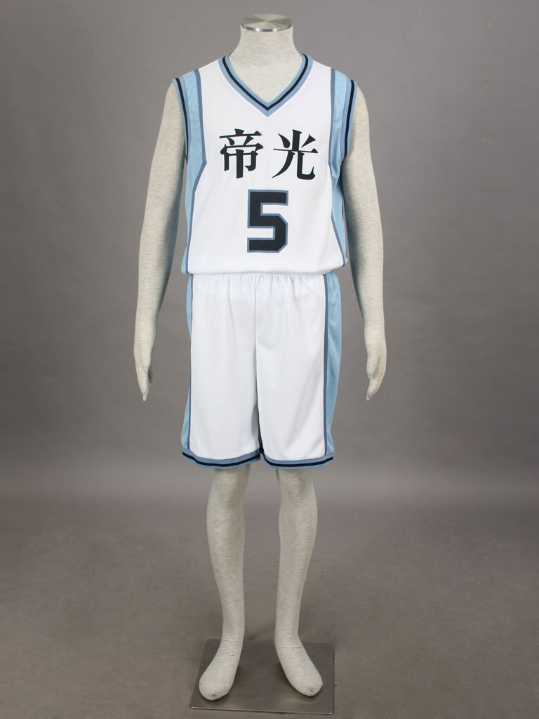 Free Shipping Kuroko's Basketball Atsushi Murasakibara Teiko Middle School's basketball Uniform White Number 5 Cosplay Costume