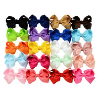 20pcs Lot 3 Inch Summer Style Solid Ribbon Bows WITH Hair Clips Baby Girl Boutique Kids