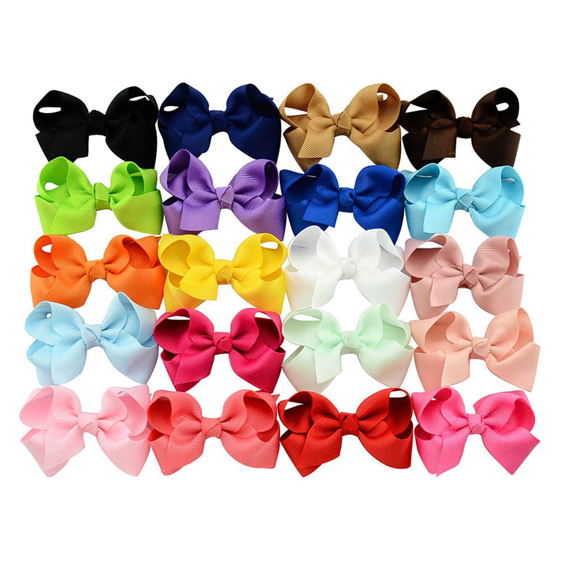 20pcs/lot 3 Inch Summer Style Solid Ribbon Bows WITH Hair Clips  Girl Boutique Kids Hair Accessories Wholesale Free Shipping