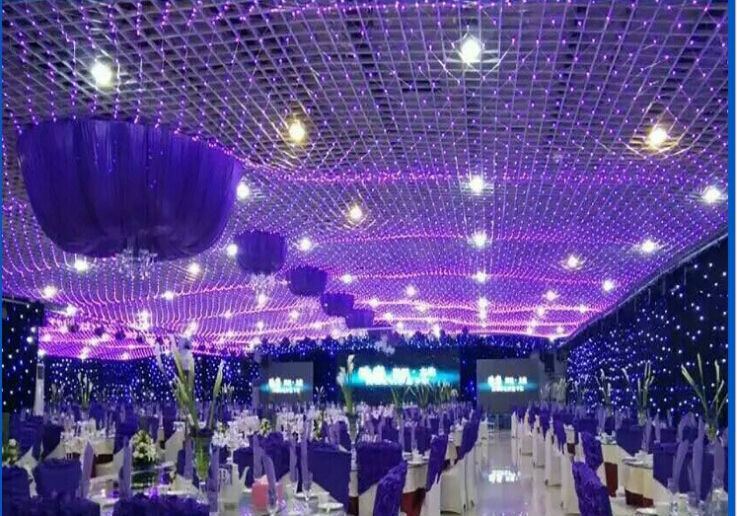 6*4 M Pink Purple Led Net Lighting Large Size Christmas Lights Outdoor  Decorative