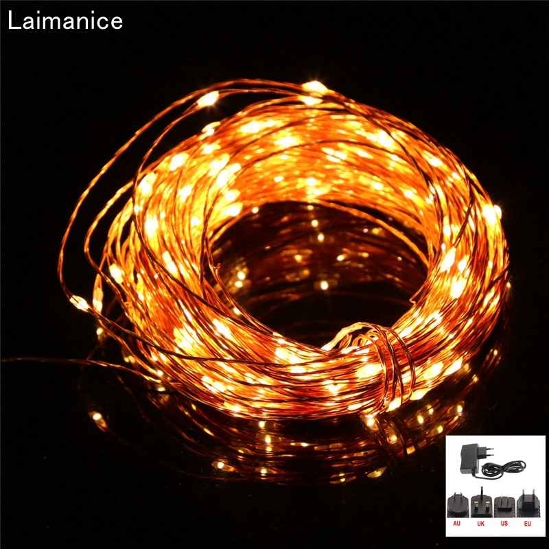 цена 30m 300 LED Outdoor Christmas Fairy Lights Warm White Copper Silver Wire String Starry Lights+Power Adapter(UK,US,EU,AU Plug)