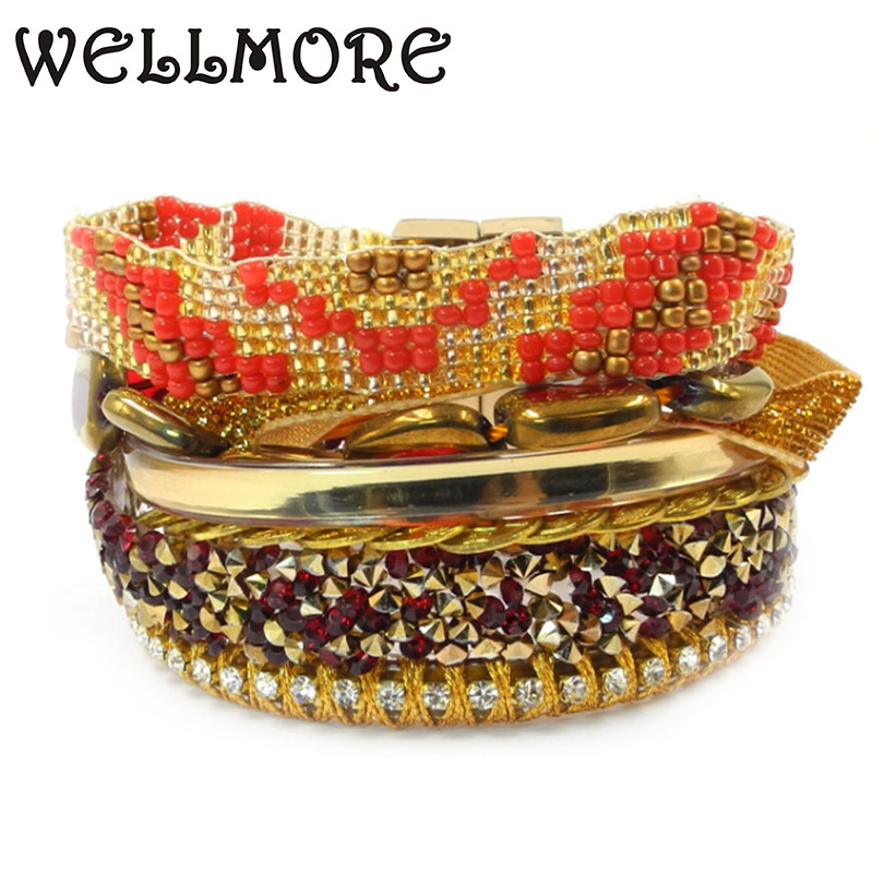 beads bracelet charm bracelets Magnetic Clasp bracelets for women Multi-level multi-color combination winding bracelet