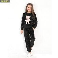 Brand Design Girls Clothing Set Autumn Winter Tracksuits Velvet Tops Pants Cartoon Bear Sequins Applique Shirt