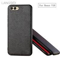 LANGSIDI Brand Phone Case Litchi Grain Full Wrapped Phone Case For Huawei Honor V10 Phone Case