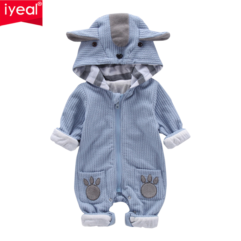 IYEAL New Autumn Winter Baby Rompers Cute Hooded Cartoon Ear Infant Girl Boy Jumpers Kids Toddler Baby Boy Outfits Clothes