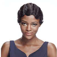 Debut Cheap Virgin Human Hair Machine Made Wigs 8 Inch Ocean Wave Natural Color Brazilian Hair Extension Wigs For Black Women