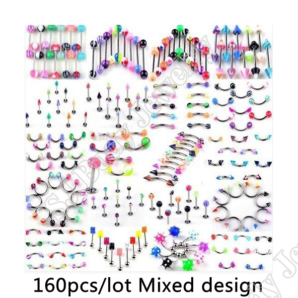160pcs/set Body Piercing Assorted Mix Lot Kit 14G 16G Ball Spike Curved Sexy-Belly Rings ...
