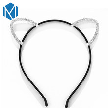 M MISM 2019 Girls Black Sharp Ear Princess Glitter Rhinestones Hair band Crystal Hair Accessories Handmade Hair Hoops Headbands(China)