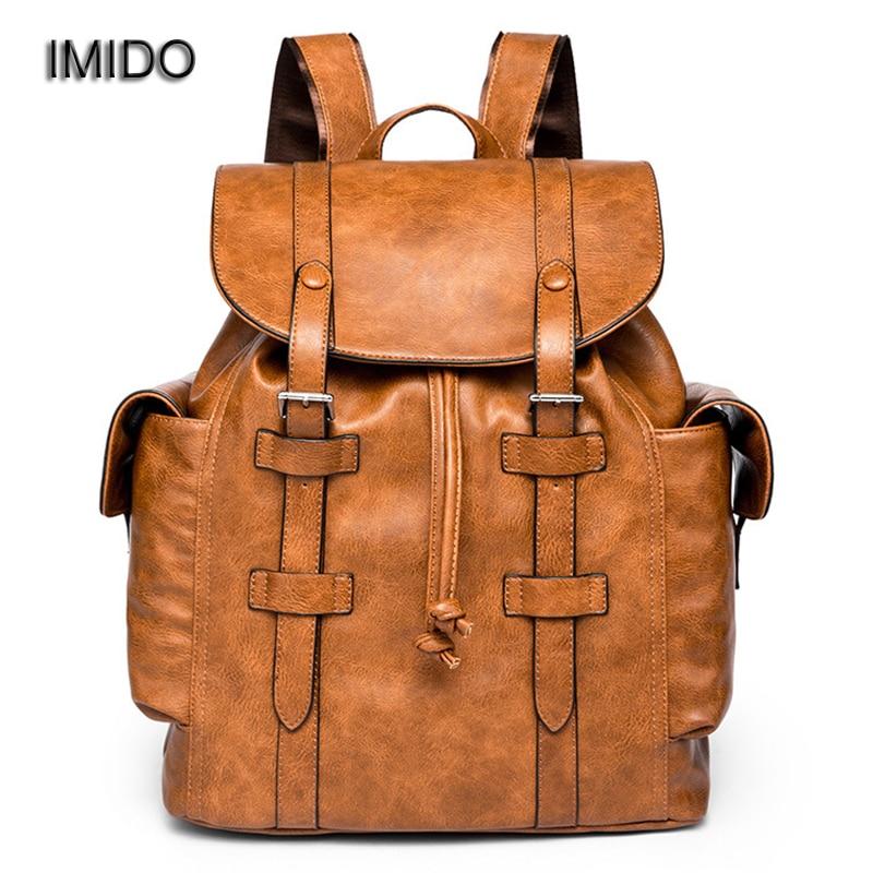 Backpacks Men's Bags Discreet Imido Wholesale Backpacks For Men Bag Pu Brown Leather Mens Shoulder Bags Male Business Casual Teenage School Bag Black Sld148
