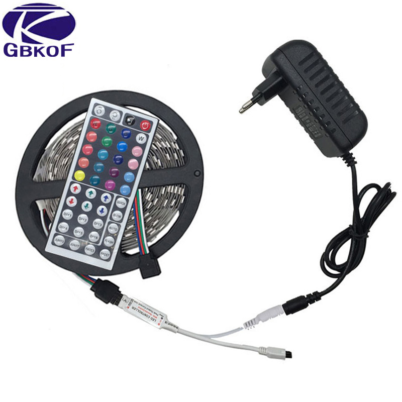 10M 5M 3528 5050 RGB LED strip light non waterproof led light 10M flexible rgb diode led tape set+Remote Control+Power Adapter rgb led strip smd 5050 rgb 5m diode tape with 20 keys music ir remote controller 12v 3a power adapter flexible decoration light