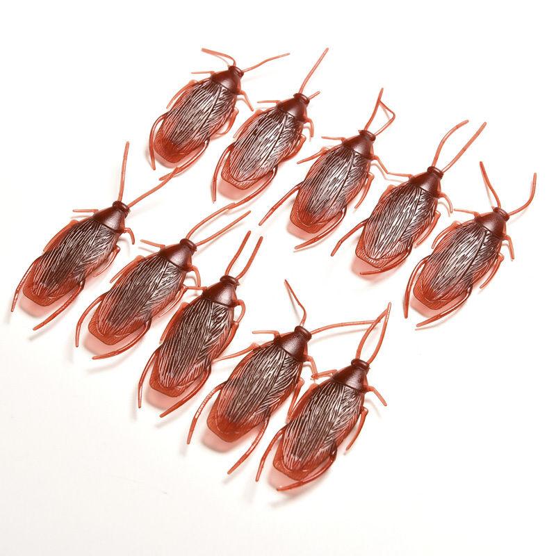 10pcs/lot Funny Trick Joke Toys 4*1.8cm Model Simulation Fake Rubber Cockroach Cock Roach Bug Roaches Toy Prank