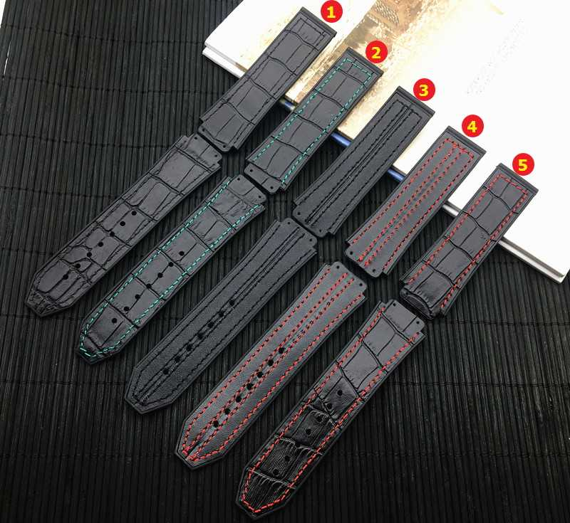 Top quality Genuine leather watchband Green Silicone watch Strap For Hublot Men 25*19mm for Big Bang band Male Fusion belt logo