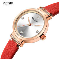 MEGIR Women Fashion Red Quartz Watch Lady Leather Watchband High Quality Casual Waterproof Wristwatch Gift for Wife 2019