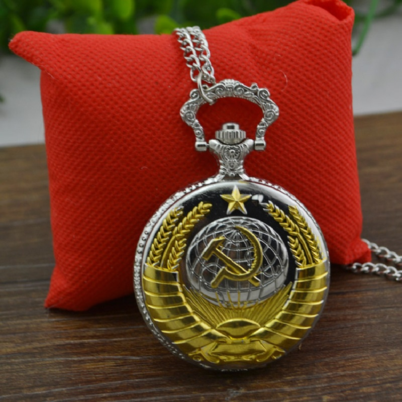 Vintage USSR Emblem Soviet Badges Sickle Hammer Russia Army Pocket Watch Gold Necklace Pendant Chain Clock Communism Men Women