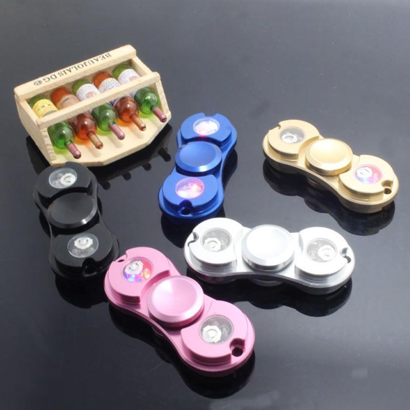 2017 New Style Toys Pattern LED Light Hand Spinner Metal Spinner Fidget and ADHD Adults Children