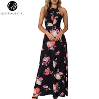 Lily Rosie Girl Hollow Out High Waist Floral Print Women Maxi Dresses Black Backless Split Long