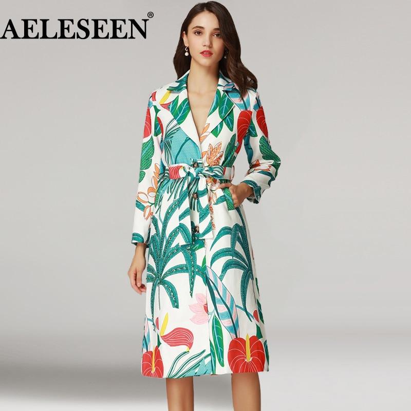 AELESEEN Designer Runway New   Trench   Coat 2018 Autumn Fashion Beading Flower Print Full Sleeve Office Luxury Long   Trench   Women