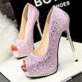Envío gratis moda tacones finos zapatos peep toe mujeres rhinestone bombas 6 colores