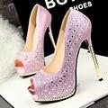 Free shipping Fashion thin heels peep toe shoes women rhinestone pumps 6 colors