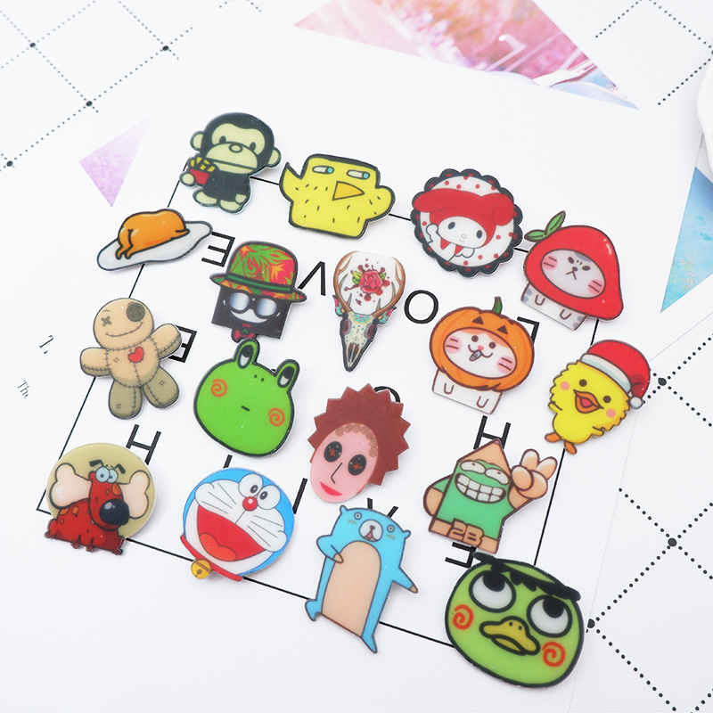 1 PC Lovely Cartoon Badges for Backpack Badges Clothes Plastic Pin brooch Badge