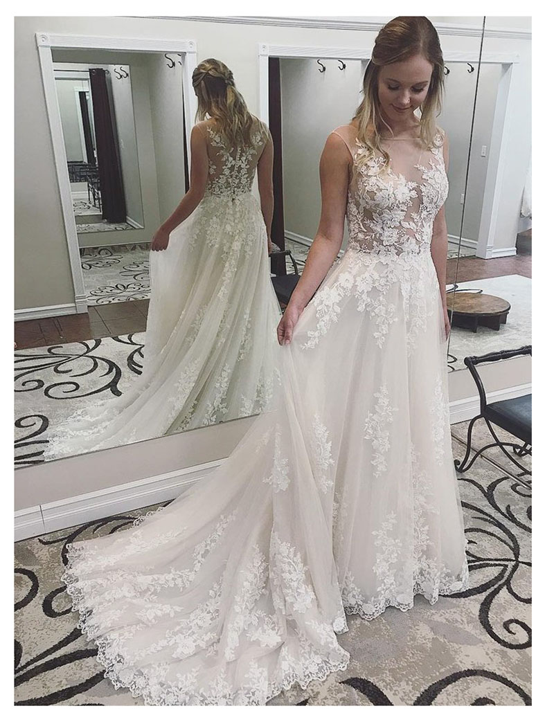LORIE Sexy Boho Wedding Dress See Through White Ivory Appliques Lace Princess Bride Dress Long Wedding Gowns Free Shipping