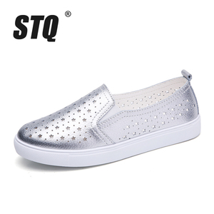 Image 2 - STQ 2020 Summer Women Flats Sneakers Ballet Flats Oxfords Shoes Slip On Loafers Casual Shoes Women White Silver Boat Shoes 6688