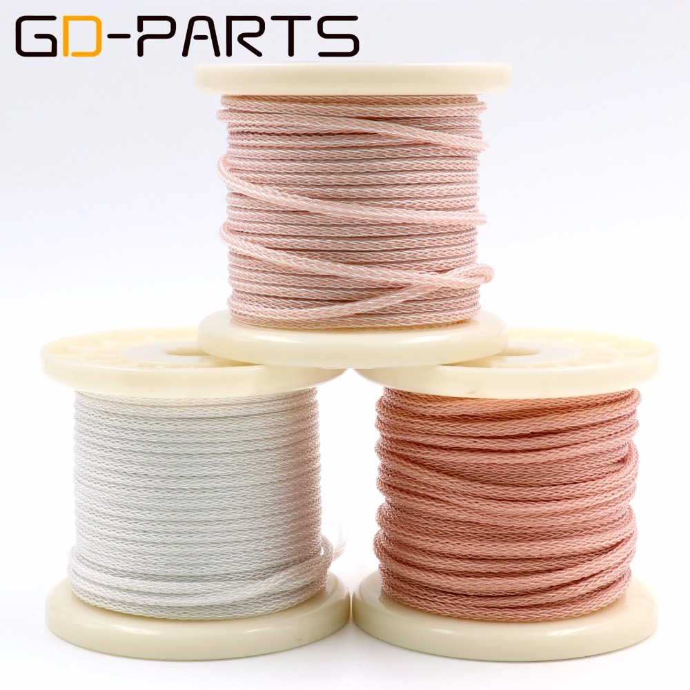 GD-PARTS 16 Cores High Purity 6N Teflon Silver OCC Wire Headphone Earphone Upgrade DIY Cable Hifi Headset Speaker Line Cable diy earphone head without wire used original 9 2mm speaker