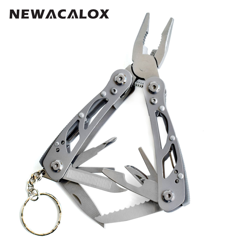 NEWACALOX Multi Pocket Mini Folding Plier Portable Outdoor Hand Tools Wire Screwdriver Knife Saw Survival Keychain Multifunction newacalox multitool pliers pocket knife screwdriver set kit adjustable wrench jaw spanner repair survival hand multi tools mini