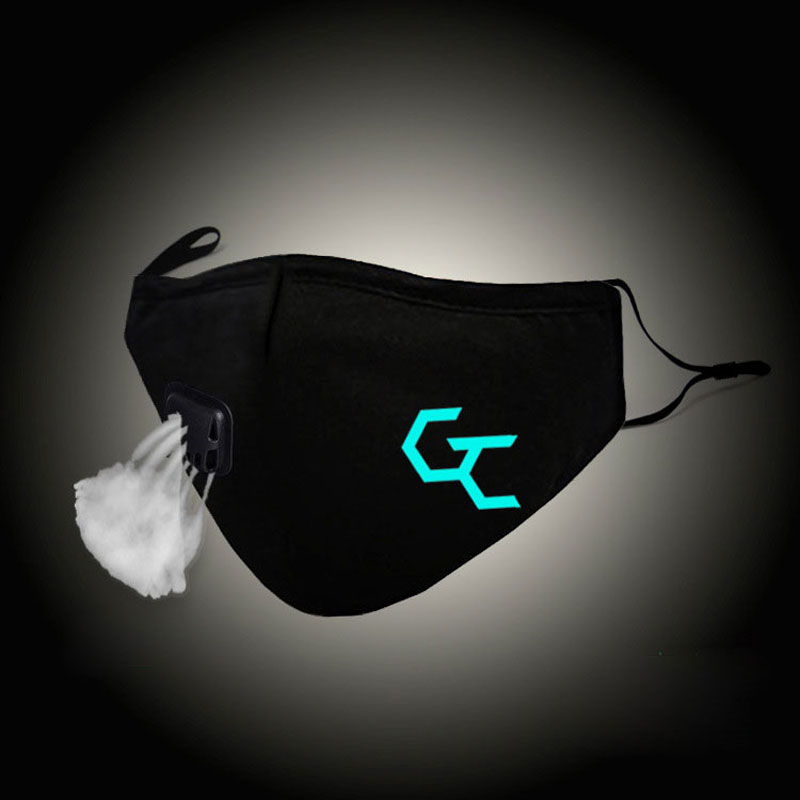 Glow In Dark Fashion Mouth Mask Guilty Crow Cosplay Cotton Face Mask Anti PM2.5 Dust Filter Winter Warm Muffle Valved Respirator