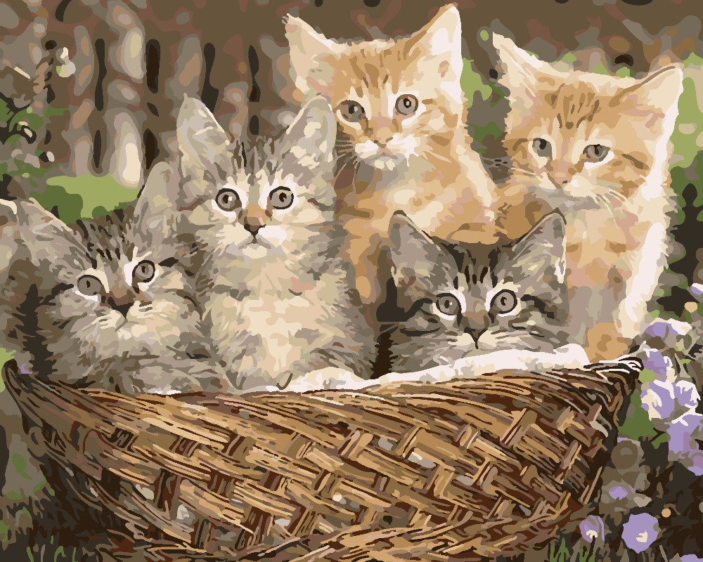 Mewarnai Gambar Dengan Angka Lukisan Minyak DIY Handmade Wall Art kanvas Cat Dekorasi Rumah kucing Kucing yang indah Untuk Ruang Tamu hadiah di Painting