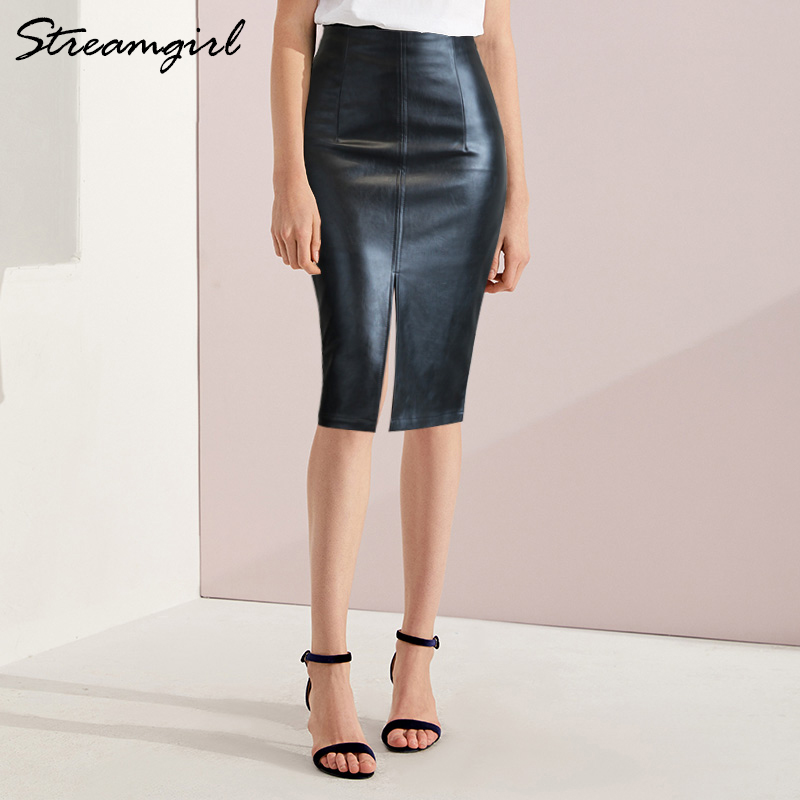 Black Leather Skirt Women Plus Size Midi PU Pencil Skirts Womens Skirt With High Waist Office Leather Skirt Knee Length Female