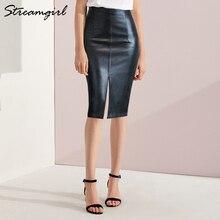 Falda de piel sintética para mujer, faldas de tubo de PU de talla grande, de cintura alta, 4XL