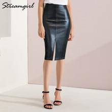 フェイクレザースカート女性プラスサイズミディドレス pu 鉛筆の女性のスカートハイウエストオフィス pu フェイクレザースカート女性 4XL