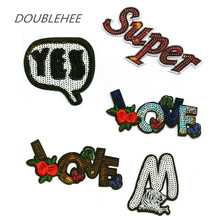 DOUBLEHEE Sequins Letter English Love Flower Embroidered Iron On Patches For Clothing Patch Design diy Shoes Bag Accessories