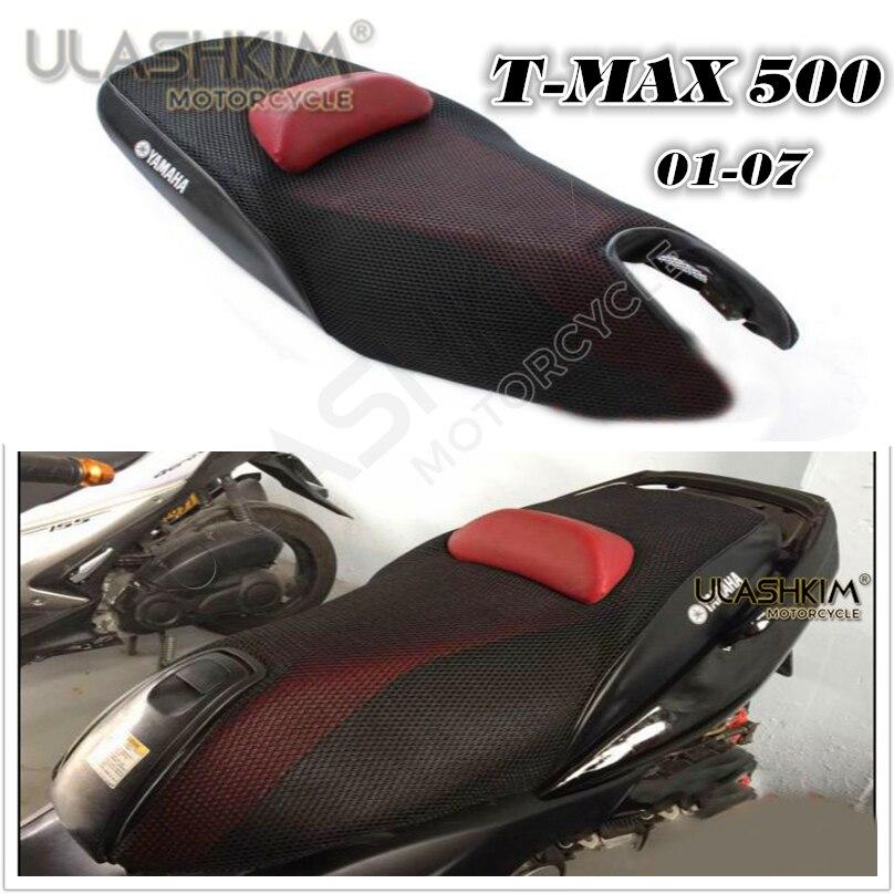 Funda de cojín protector solar 3D 7mm modificado t-max funda de asiento funda de cojín térmico con aislación para Yamaha Tmax500 2001-2007