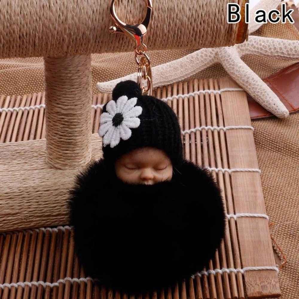 Kawii 1 pc Moda Sono Do Bebê Boneca Chaveiro Saco Titular Chave Do Carro Chaveiro de Carro Bola de Pêlo de Coelho Pingente Bonito mulheres