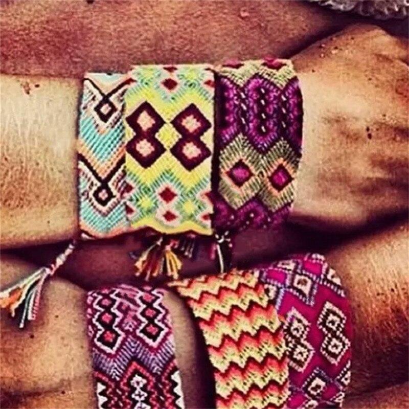 Bohemian Handmade Rainbow Bracelet Lucky Transit Friendship Hand Strap Vintage Adjustable Cotton Rope Bracelet For Women in Chain Link Bracelets from Jewelry Accessories