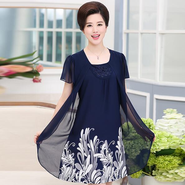 Fake Two Piece Mother Summer Dresses Plus Size Women Clothing Print Floral Elegant Loose Short Sleeve Vestidos WF151
