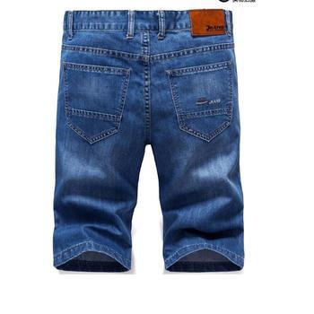 цены Men's Summer Short Jeans Men Cotton Blue Denim Short Jeans New Male Straight Denim Shorts Blue Short Jeans Size 38