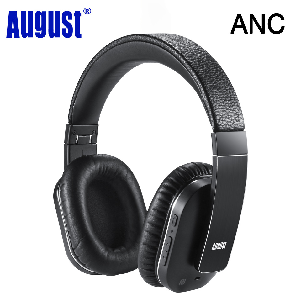 August EP750 AptX Active Noise Cancelling Wireless Bluetooth Headphones With Microphone
