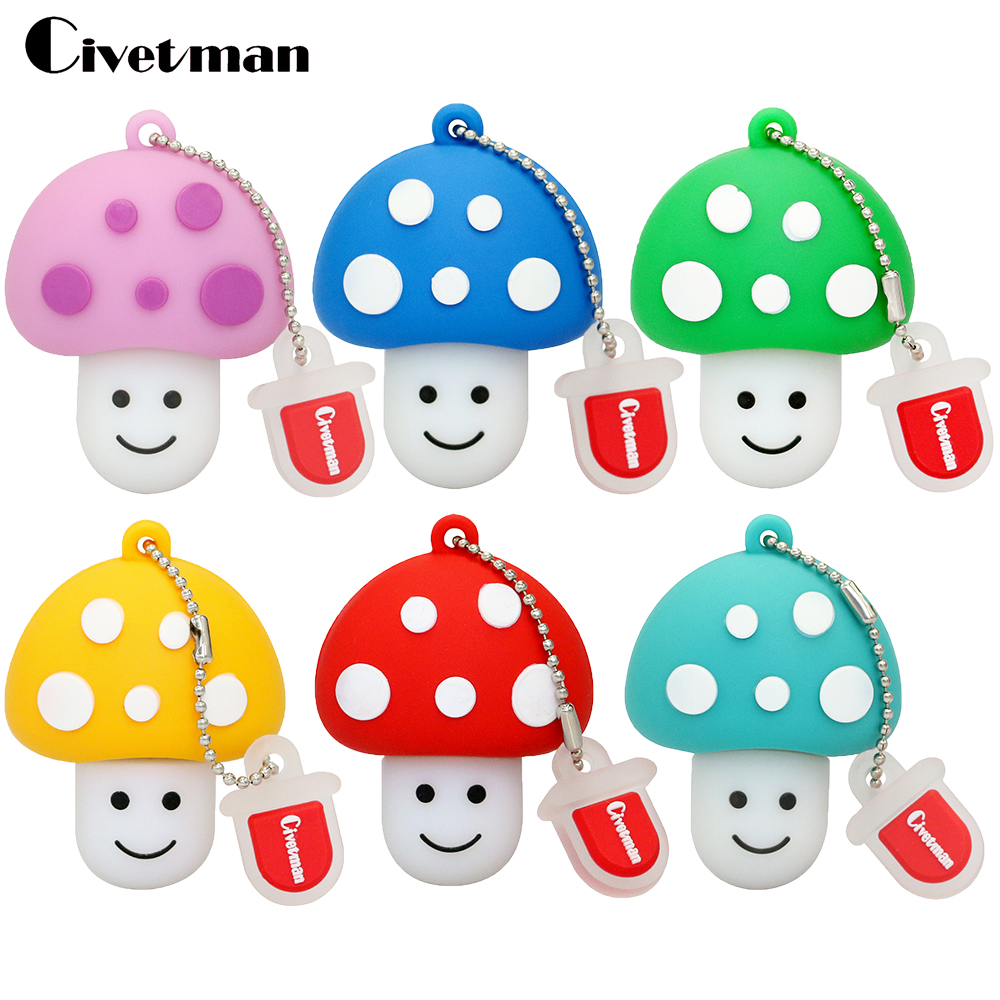 Nuevo Pendrive Mushrooms Usb Flash Drive Estilo clásico 8GB 16GB 32GB 64GB USB Flash Memory Stick Mushroom Men 128GB Pen Drive